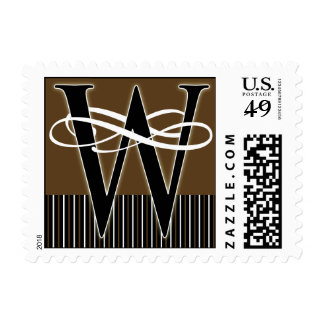 Monogram W Postage -- Pick Your Own Color!
