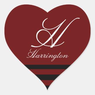 """""""Monogram w/ Stripes in Lucia Font"""" Heart Sticker"""