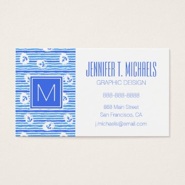 Beach Themed Monogram Watercolor Anchor Pattern Business Card