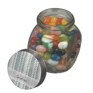 Monogram Watercolor Aqua Geo Ikat Stripes Pattern Jelly Belly Candy Jar