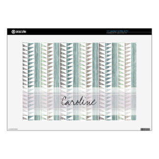 Monogram Watercolor Aqua Geo Ikat Stripes Pattern Laptop Skins