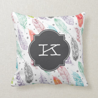 Monogram Watercolor Feather Pattern Pillow