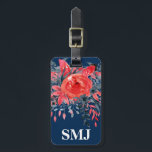 """Monogram Watercolor Floral Blue Denim / Red Rose Bag Tag<br><div class=""""desc"""">Luggage tag with watercolor floral blue denim and red rose flowers, monogram initial(s)/name, and address information on a navy blue background. Personalize with your monogram initial(s)/name, name, and address information using the easy templates. Font color, font style, font size, and navy blue background color are customizable. Perfect for any travel...</div>"""