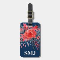 Monogram Watercolor Floral Blue Denim / Red Rose Bag Tag