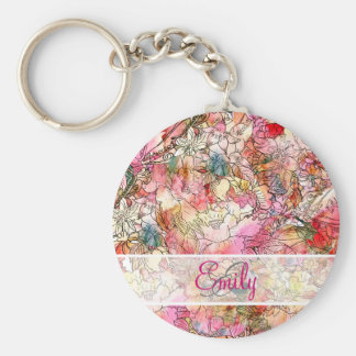 Monogram Watercolor Floral Pattern Abstract Sketch Basic Round Button Keychain