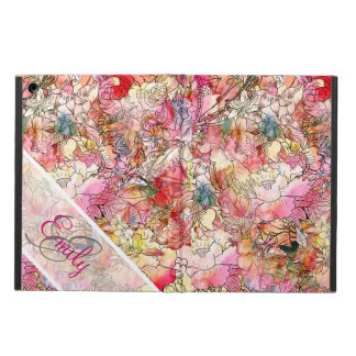 Monogram Watercolor Floral Pattern Abstract Sketch iPad Air Covers