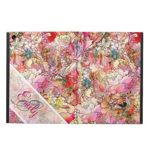 Monogram Watercolor Floral Pattern Abstract Sketch iPad Air Cover