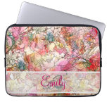 Monogram Watercolor Floral Pattern Abstract Sketch Laptop Sleeve