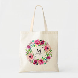 Monogram Watercolor Floral Stylish Chic Modern Tote Bag