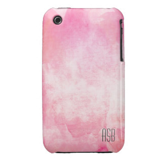 Monogram watercolor hipster pastel pink create own iPhone 3 Case-Mate cases