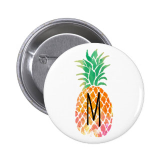 monogram watercolor pineapple pinback button