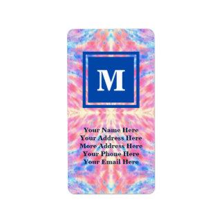 Monogram Watercolor Pink Blue Floral Fireworks Label