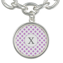 monogram watercolor purple polka dots Pattern Bracelet