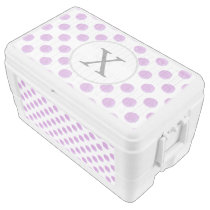 monogram watercolor purple polka dots Pattern Chest Cooler