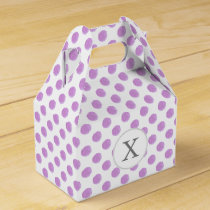 monogram watercolor purple polka dots Pattern Favor Box