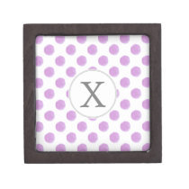 monogram watercolor purple polka dots Pattern Gift Box
