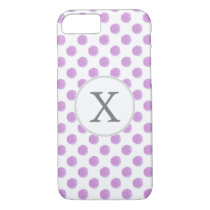 monogram watercolor purple polka dots Pattern iPhone 8/7 Case