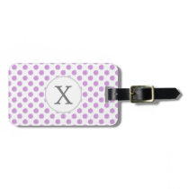 monogram watercolor purple polka dots Pattern Luggage Tag