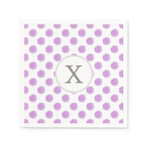 monogram watercolor purple polka dots Pattern Paper Napkin