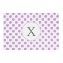 monogram watercolor purple polka dots Pattern Placemat