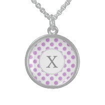 monogram watercolor purple polka dots Pattern Sterling Silver Necklace