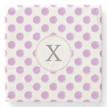 monogram watercolor purple polka dots Pattern Stone Coaster