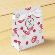 monogram watercolor red mushrooms favor box