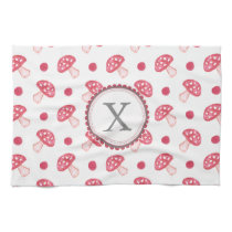 monogram watercolor red mushrooms towel