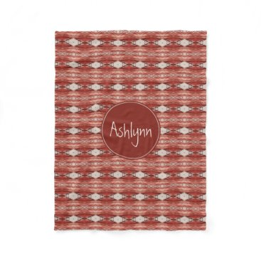 Aztec Themed Monogram Watercolor Sienna Aztec Tribal Pattern Fleece Blanket
