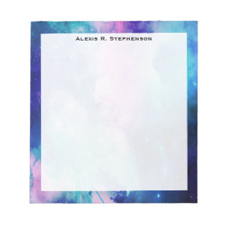 Monogram Watercolor Space Universe Blue Pink Star Note Pad