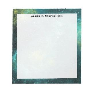 Monogram Watercolor Space Universe Green Star Notepad