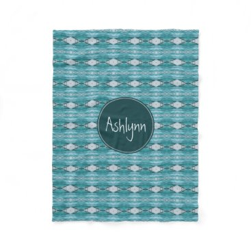 Aztec Themed Monogram Watercolor Teal Aztec Tribal Pattern Fleece Blanket