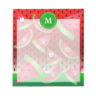Monogram Watermelon Funny Faces Notepad