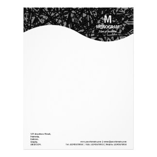 Monogram Wave - Abstract Lines - Gray Letterhead