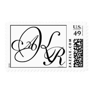 Monogram Wedding AKR Three Letters Postage Stamp