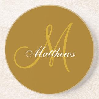 Monogram Wedding Anniversary Coaster Gold