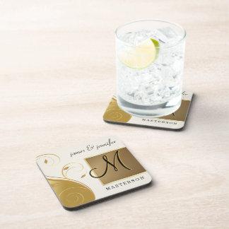 Monogram Wedding Anniversary Gift Cork Coaster Set