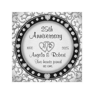 Monogram Wedding Anniversary with Hearts Canvas Print