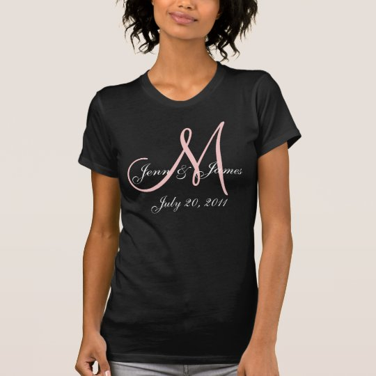Monogram Wedding Announcement Pink & White T-Shirt