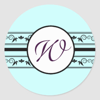 Monogram Wedding Aqua Blue Borders Classic Round Sticker