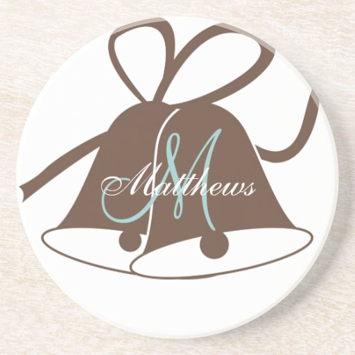 Monogram Wedding Bells Coaster Brown Blue