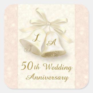 Monogram Wedding bells Golden Anniversary Sticker