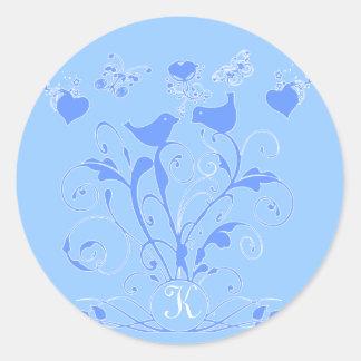Monogram Wedding Birds Hearts Swirls  Blue Classic Round Sticker