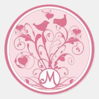 Monogram Wedding Birds Hearts Swirls Honeysuckle Classic Round Sticker