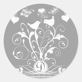 Monogram Wedding Birds Hearts Swirls White on Grey Classic Round Sticker