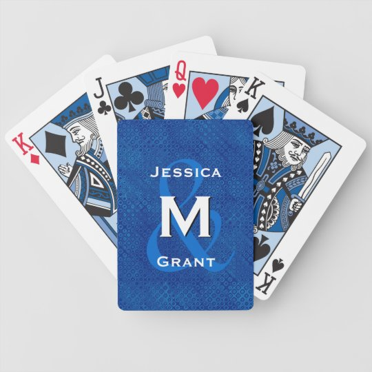 Monogram Wedding Bride and Groom Blue V322 Bicycle Playing Cards