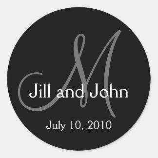 Monogram Wedding Bride Groom Date Envelope Sticker