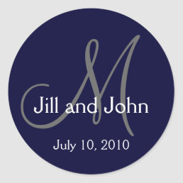 Monogram Wedding Bride Groom Date Navy Sticker