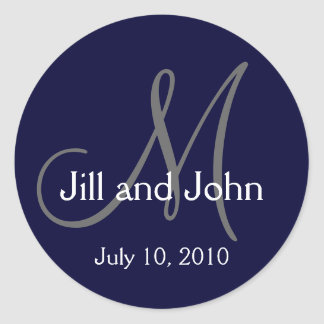 Monogram Wedding Bride Groom Date Navy Sticker