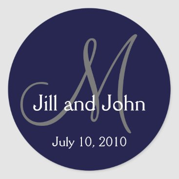 MonogramGalleryGifts Monogram Wedding Bride Groom Date Navy Sticker